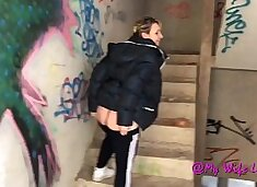 Milf fucked fast in an abandoned house
