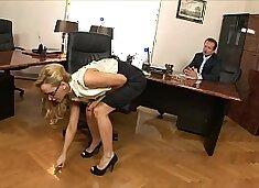 Boss fucks his stunning blonde secretary Aleska Diamond hard on his office desk