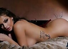 Gorgeous natural brunettes stripteasing for Playboy