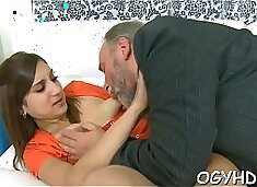 Cute young gal fucked by old chap