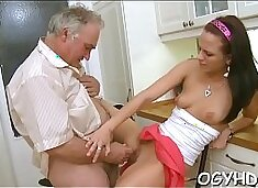 Youthful hottie blows old dick