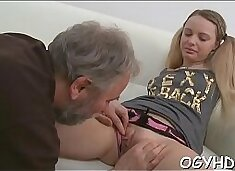 Enchanting young gal licked by pold boy