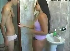 Step brother sister live sex on bathroom found them on camgirlswithbigboobs.com