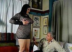 Super sexy fatty in fishnet bodysuit gets blasted with cum