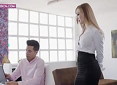 PORNBCN 4K / The hot russian blonde secretary Misha Maver wants her boss Alberto Blanco to fuck her ass with his big dick  big tits blowjob hardcore doggy style orgasm deepthroat anal