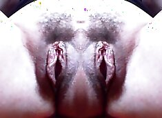 Monster vagina: big double hairy pussy and incredible monstrous labia