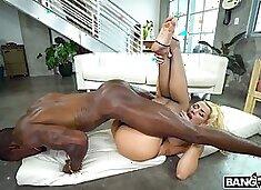 Appetizing big racked white whore Valentina Jewels greedily rides fat BBC