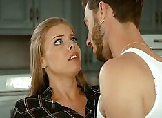 Juggy seductress Britney Amber gets fucked hard in the kitchen