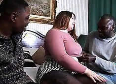 Chunky brunette fulfills her fantasy with two black studs