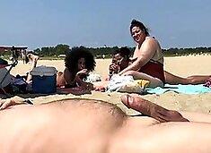 Beach flasher enjoys his summer day