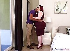 Curvaceous woman with red hair and big milk jugs, Asstyn Martyn got fucked in the ass