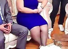 Slut Gurbet turkish woman in Shiny black pantyhose