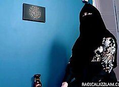 Horny muslim worships a huge cock