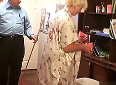 Old Master teaching his thick blonde servant to do the housework correctly
