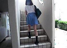 Sexy Asian schoolgirls in uniform voyeur upskirt compilation