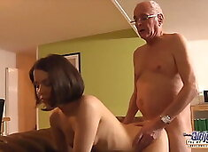 Sexy 18yo fucked by old man with intense orgasm and facial