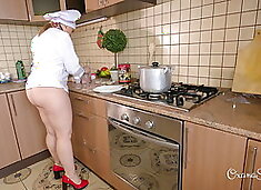 Oxana`s culinary show. Dumplings and coffee with cream.