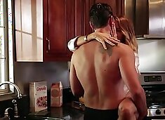 Husband doesn`t even know that his wife is cheating him in the kitchen