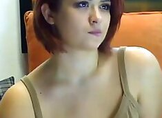 Sexy short hair camgirl with huge natural tits