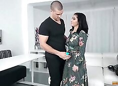 Smashing brunette, Aysha is rubbing her clit while Ramon is drilling her dripping wet pussy