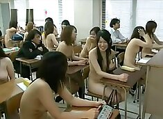 Naked japanese schoolgirls in classroom