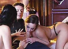 Amazing FFM threesome of two lovely angels and a lucky dude
