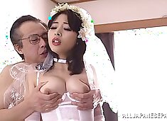 Beautiful Japanese bride in white lingerie bangs a dirty old man