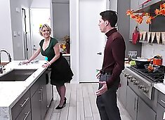 Good at cooking milf Dee Williams bangs her stepson in the kitchen