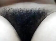 Mature mom shows her hairy cunt close-up