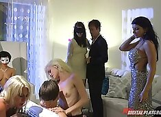 Swinging couple swaps partners with another couple for a foursome