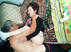 Amateur Asian Grandpa Pounding Wife Hard