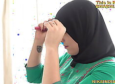 Muslim teen in Burka sucks brother`s dick and gets fucked