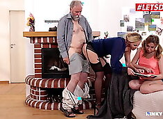 LETSDOEIT Taboo FFM With MILF Mom And Teen Daughter - Sparta