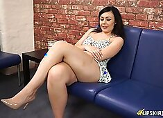 Damn perfect juicy booty of lovely brunette Kacie James is flashed