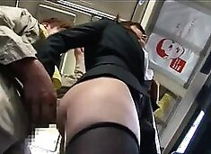 Elegant Japanese lady with big boobs gets fucked in public